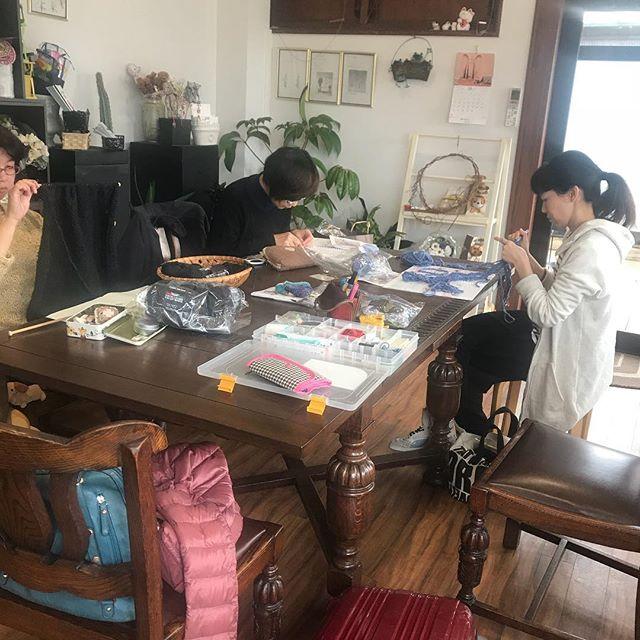 大仙市三浦生花店さまにての手編みサロン