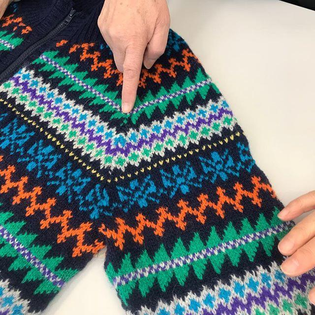 手編みサロンの会員さん、シェットランド完成です(^。^)#手編みサロン #棒針編み #編み込み