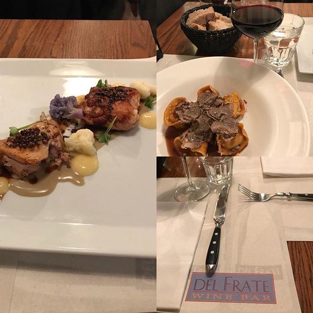 ローマ観光の初日のランチ うさぎのお肉料理と中に肉を詰めたパスタ
