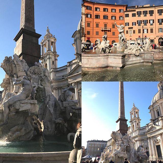 ローマ観光初日 ナボナ広場 4大大陸の噴水