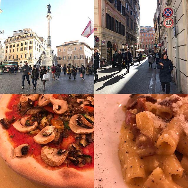 ローマ観光最終日。今日は主人のリクエストで今までの復習(^。^) スペイン広場 からトレビの泉へ向かう小道。カルボナーラを食べていなかった事に気ずきカルボナーラと、きのこのピザを食べました(^。^) 後ほど日本で詳細レポ書きます。#ローマ #イタリア #海外旅行 #roma #itary